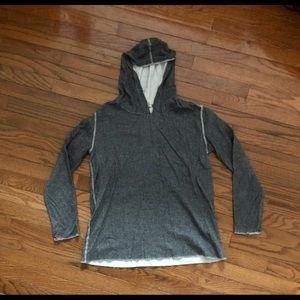 Long-Sleeved Hooded Gray Maternity Pullover
